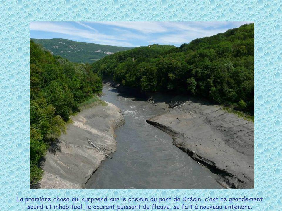La première chose qui surprend sur le chemin du pont de Grésin, cest ce grondement sourd et inhabituel, le courant puissant du fleuve, se fait à nouve