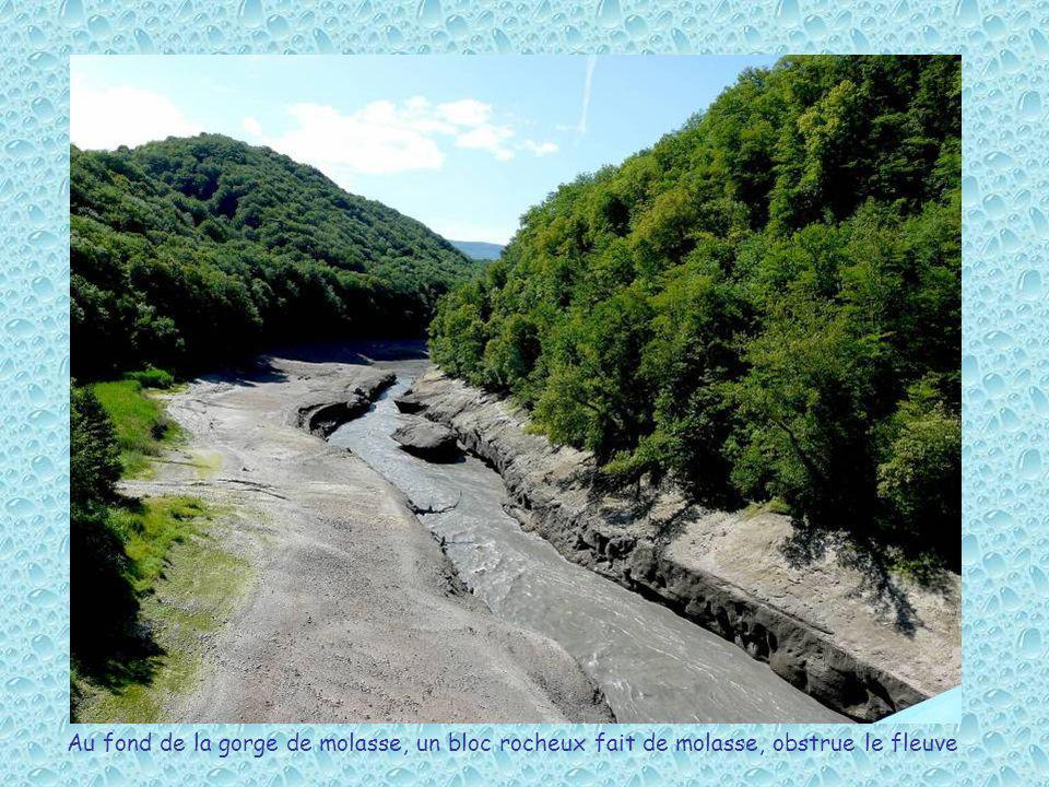 Au fond de la gorge de molasse, un bloc rocheux fait de molasse, obstrue le fleuve