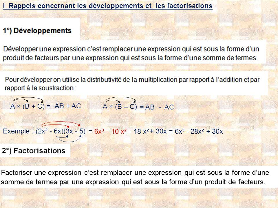 I Rappels concernant les développements et les factorisations A × (B + C) = AB+ AC A × (B – C) = AB- AC Exemple : (2x² - 6x)(3x - 5) = 6x³- 10 x²- 18 x² + 30x = 6x³ - 28x² + 30x