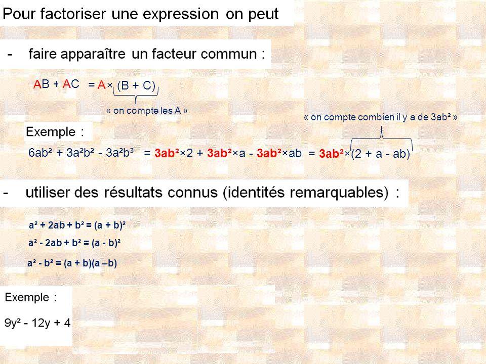 AB + AC A A = A × (B + C) 6ab² + 3a²b² - 3a²b³ = 3ab²×2 + 3ab²×a - 3ab²×ab = 3ab²×(2 + a - ab) a² + 2ab + b² = (a + b)² a² - 2ab + b² = (a - b)² a² - b² = (a + b)(a –b) « on compte combien il y a de 3ab² » « on compte les A »