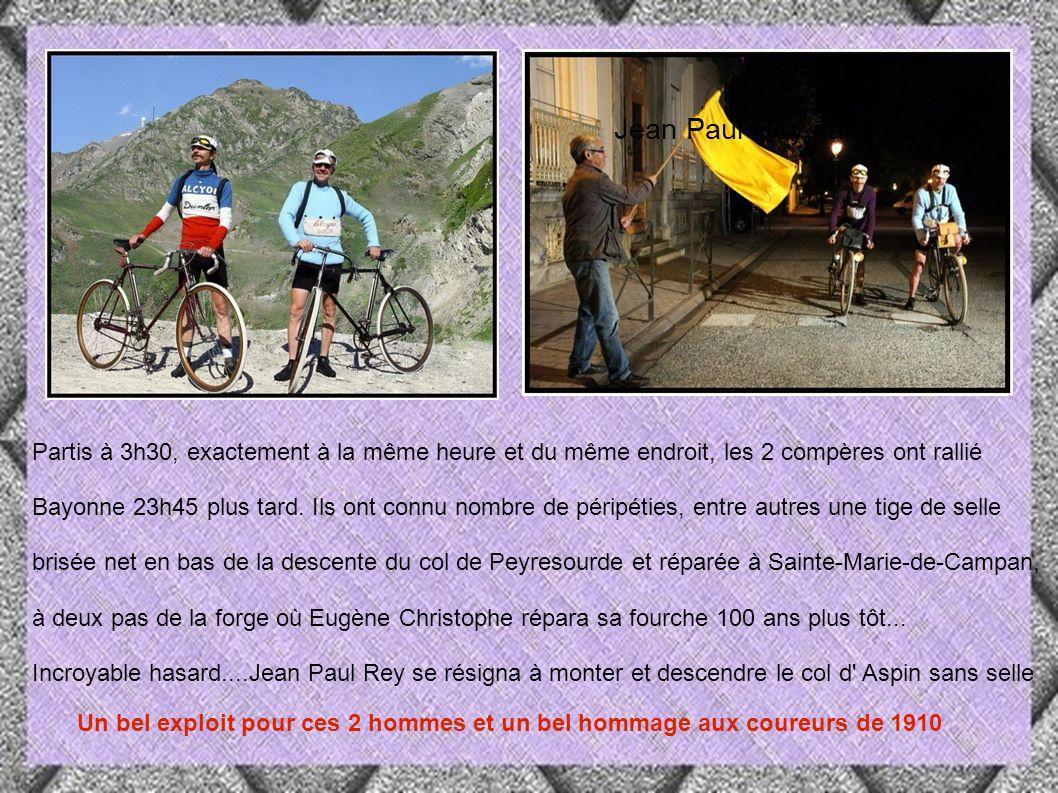 1910 2010 En 2010 Marc Lebreton (45 ans, Technicien Télécoms) et Jean-Paul Rey ( 65 ans, journaliste sportif à la retraite) referont cette fameuse étape du Tourmalet, avec les vélos d époque