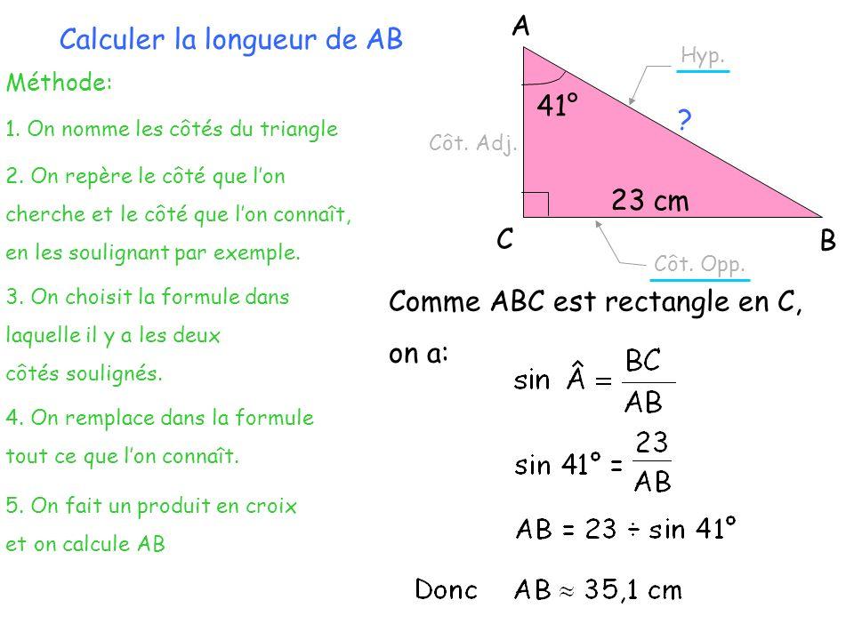 A B C 26 cm 10 cm 2) Calcul de la mesure dun angle connaissant la longueur connaissant la longueur de deux côtés Calculer langle BÂC.