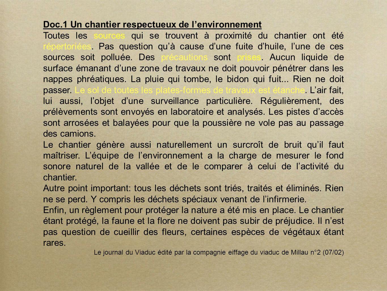 Doc.1 Un chantier respectueux de lenvironnement Toutes les sources qui se trouvent à proximité du chantier ont été répertoriées. Pas question quà caus
