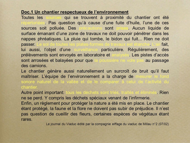 Doc.1 Un chantier respectueux de lenvironnement Toutes les sources qui se trouvent à proximité du chantier ont été répertoriées.