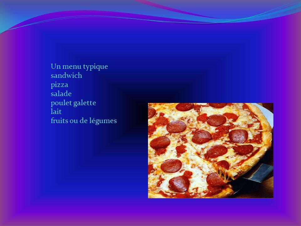 Un menu typique sandwich pizza salade poulet galette lait fruits ou de légumes