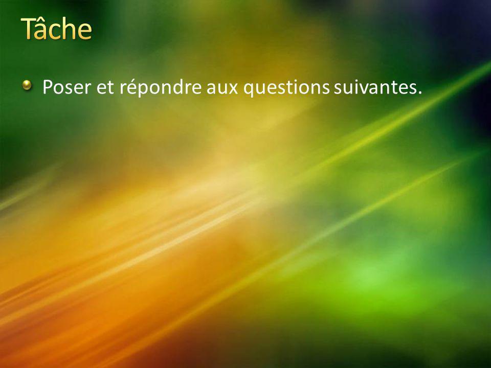 Poser et répondre aux questions suivantes.