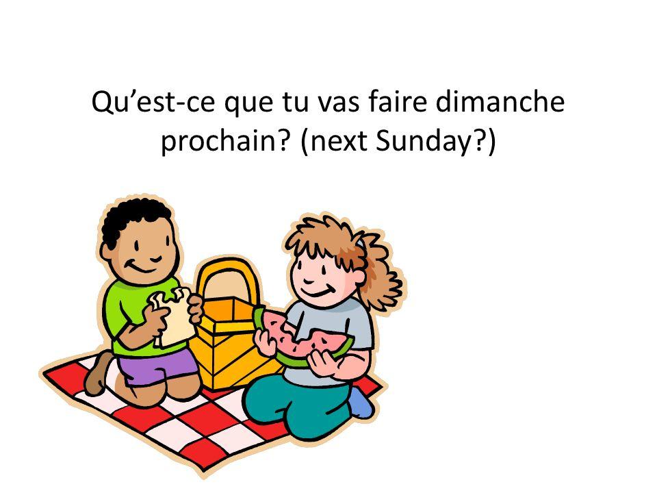 Quest-ce que tu vas faire dimanche prochain? (next Sunday?)