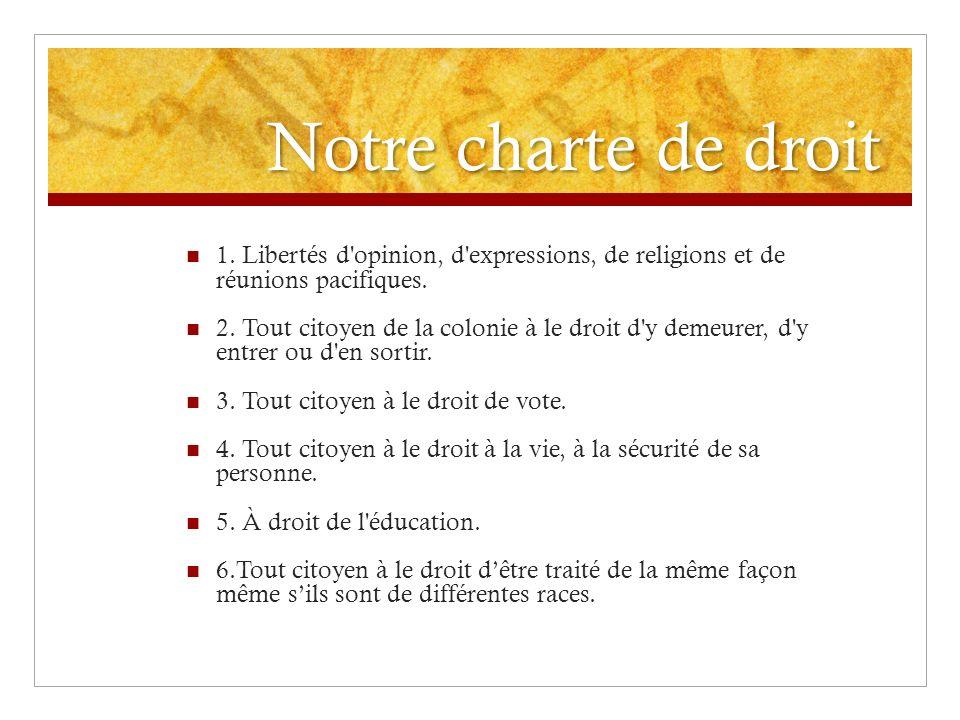 Notre charte de droit 1. Libertés d opinion, d expressions, de religions et de réunions pacifiques.