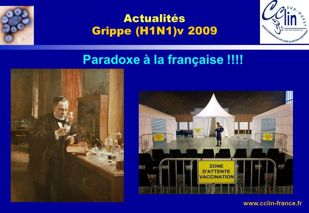 www.cclin-france.fr Actualités Grippe (H1N1)v 2009 Paradoxe à la française !!!!