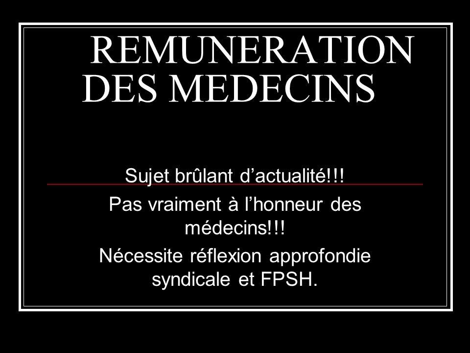 REMUNERATION DES MEDECINS Sujet brûlant dactualité!!.