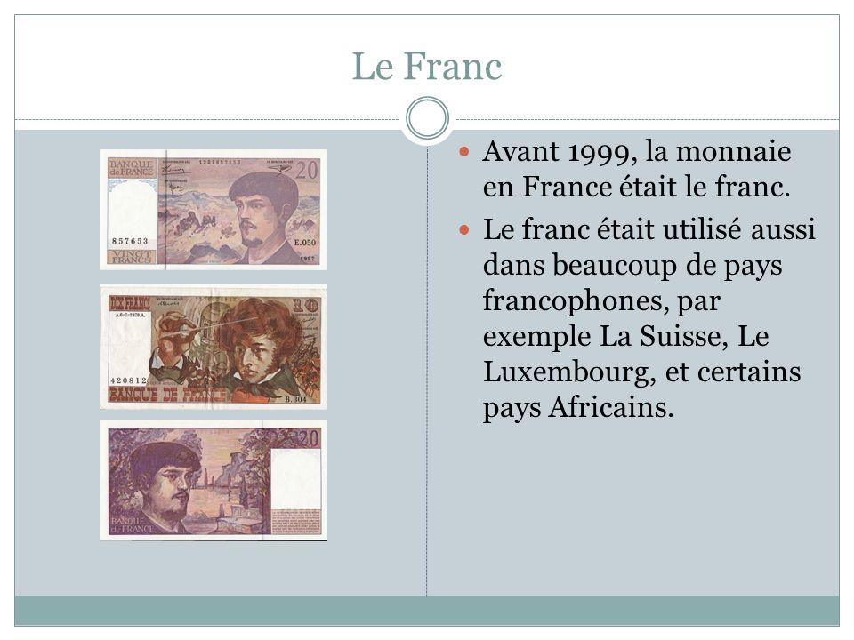 Le Franc Avant 1999, la monnaie en France était le franc.