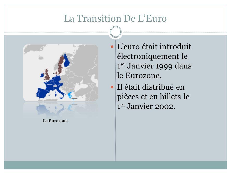 LImpact De LEuro La transition en euro était bonne en général, mais, il y avait un petit conflit en France.