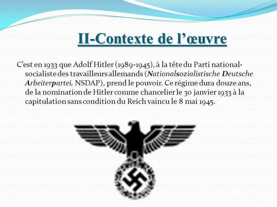 II-Contexte de lœuvre Cest en 1933 que Adolf Hitler (1989-1945), à la tête du Parti national- socialiste des travailleurs allemands (Nationalsozialist