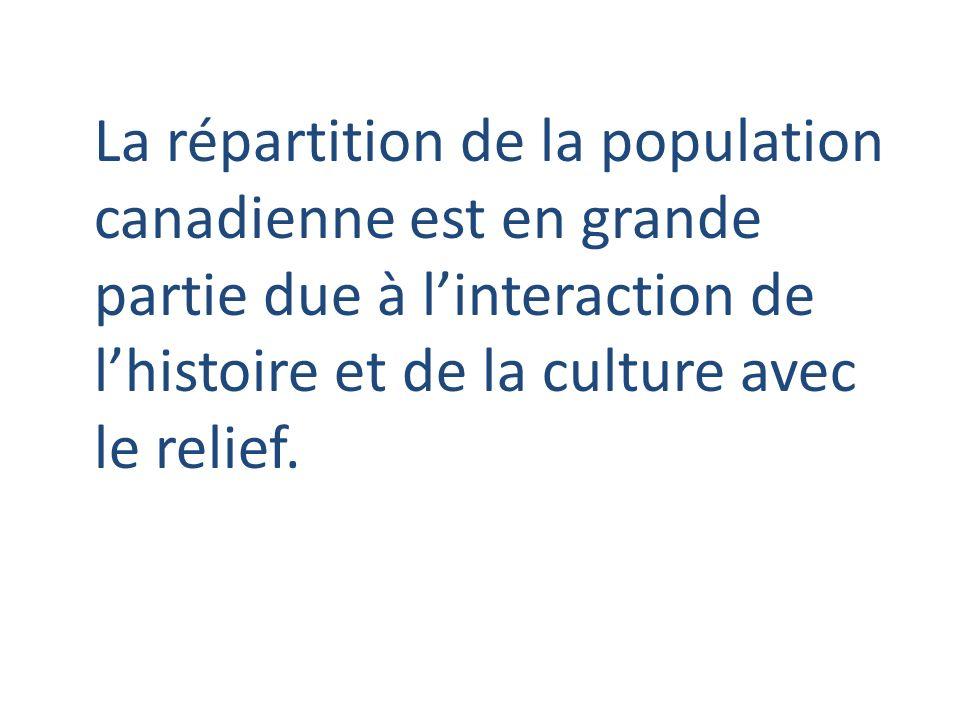 La répartition de la population canadienne est en grande partie due à linteraction de lhistoire et de la culture avec le relief.