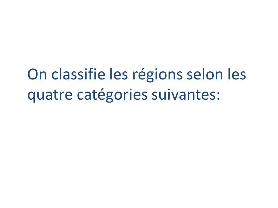 On classifie les régions selon les quatre catégories suivantes: