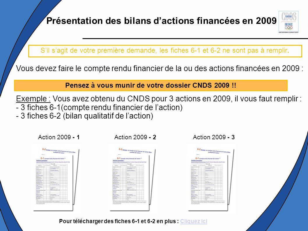 Présentation des bilans dactions financées en 2009 Vous devez faire le compte rendu financier de la ou des actions financées en 2009 : Exemple : Vous avez obtenu du CNDS pour 3 actions en 2009, il vous faut remplir : - 3 fiches 6-1(compte rendu financier de laction) - 3 fiches 6-2 (bilan qualitatif de laction) Action 2009 - 1Action 2009 - 2Action 2009 - 3 Sil sagit de votre première demande, les fiches 6-1 et 6-2 ne sont pas à remplir.