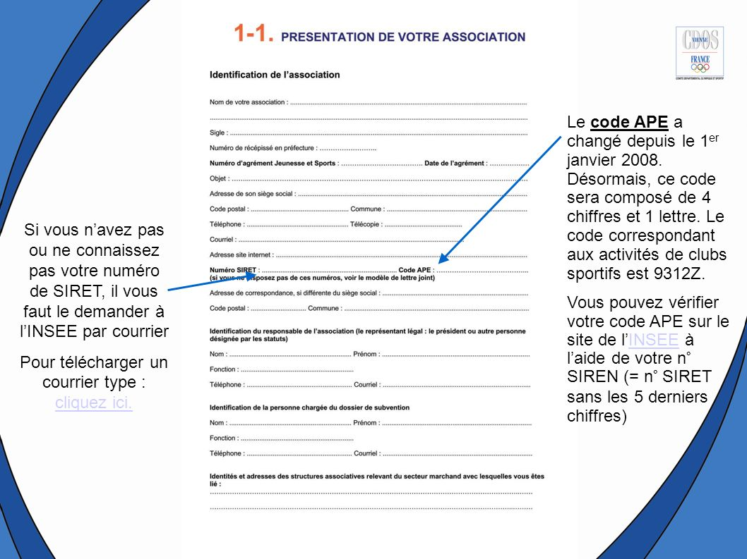 Le code APE a changé depuis le 1 er janvier 2008.