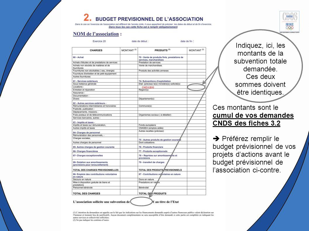 Ces montants sont le cumul de vos demandes CNDS des fiches 3.2 Préférez remplir le budget prévisionnel de vos projets dactions avant le budget prévisionnel de lassociation ci-contre.