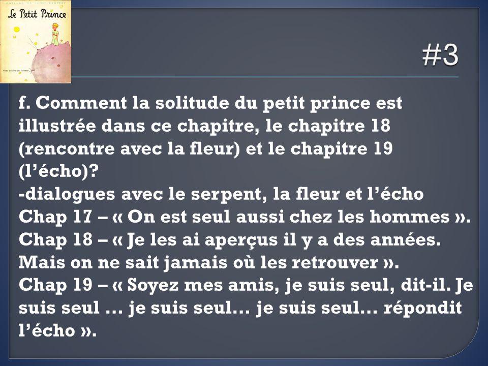 f. Comment la solitude du petit prince est illustrée dans ce chapitre, le chapitre 18 (rencontre avec la fleur) et le chapitre 19 (lécho)? -dialogues