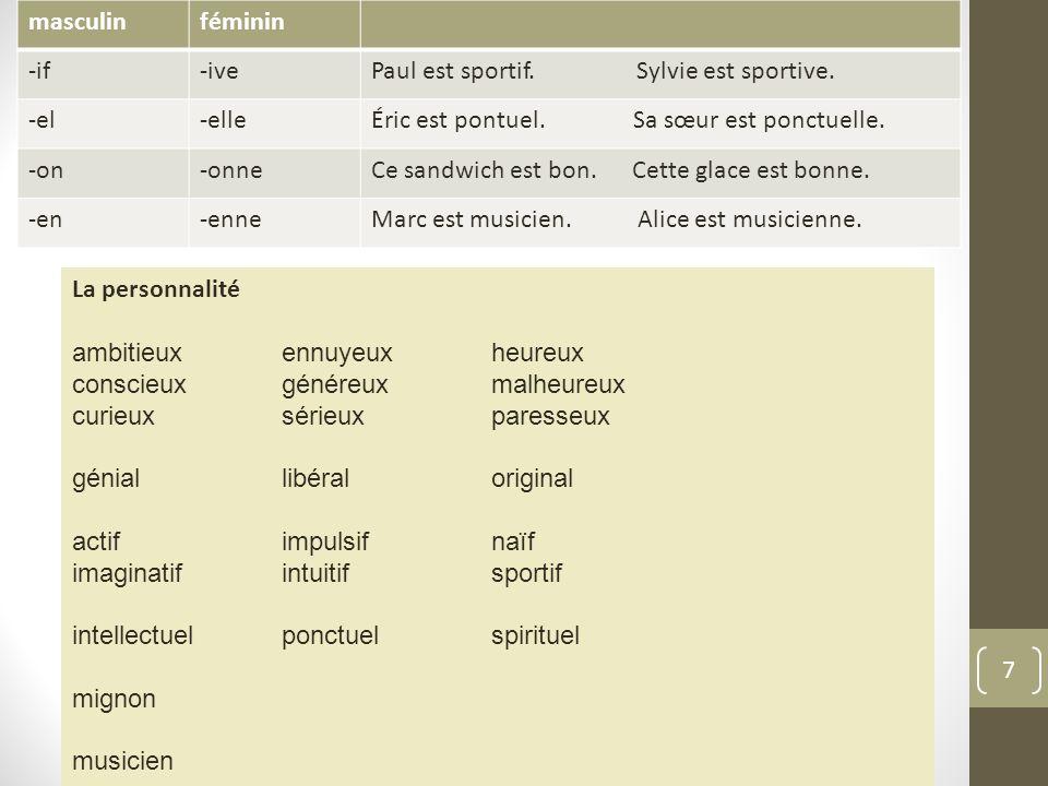 7 masculinféminin -if-ivePaul est sportif.Sylvie est sportive.