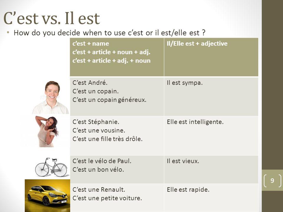 Cest vs.Il est How do you decide when to use cest or il est/elle est .