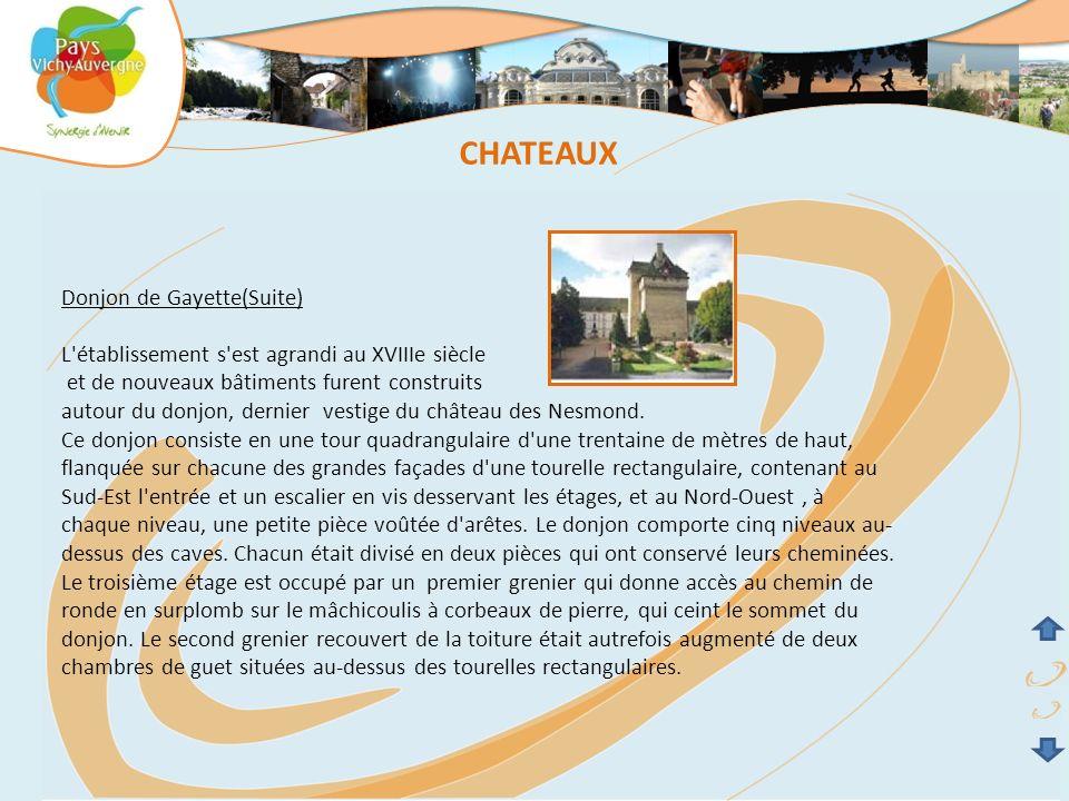 Donjon de Gayette(Suite) L'établissement s'est agrandi au XVIIIe siècle et de nouveaux bâtiments furent construits autour du donjon, dernier vestige d