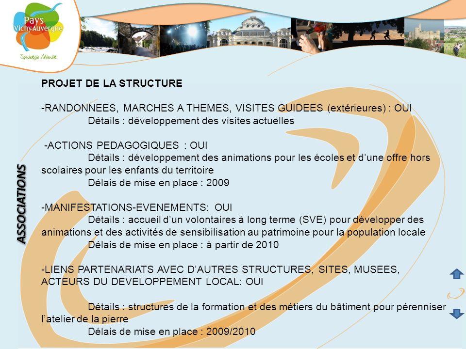 PROJET DE LA STRUCTURE -RANDONNEES, MARCHES A THEMES, VISITES GUIDEES (extérieures) : OUI Détails : développement des visites actuelles -ACTIONS PEDAG