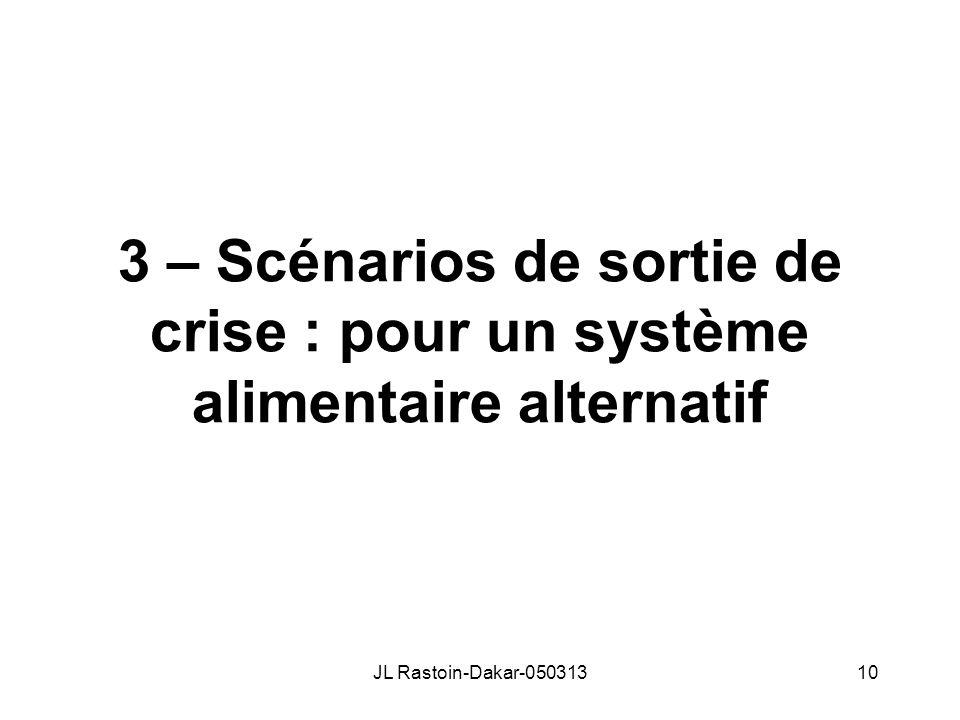 3 – Scénarios de sortie de crise : pour un système alimentaire alternatif JL Rastoin-Dakar-05031310