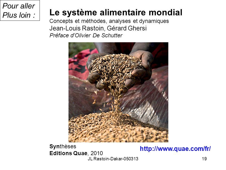 Le système alimentaire mondial Concepts et méthodes, analyses et dynamiques Jean-Louis Rastoin, Gérard Ghersi Préface dOlivier De Schutter Synthèses E