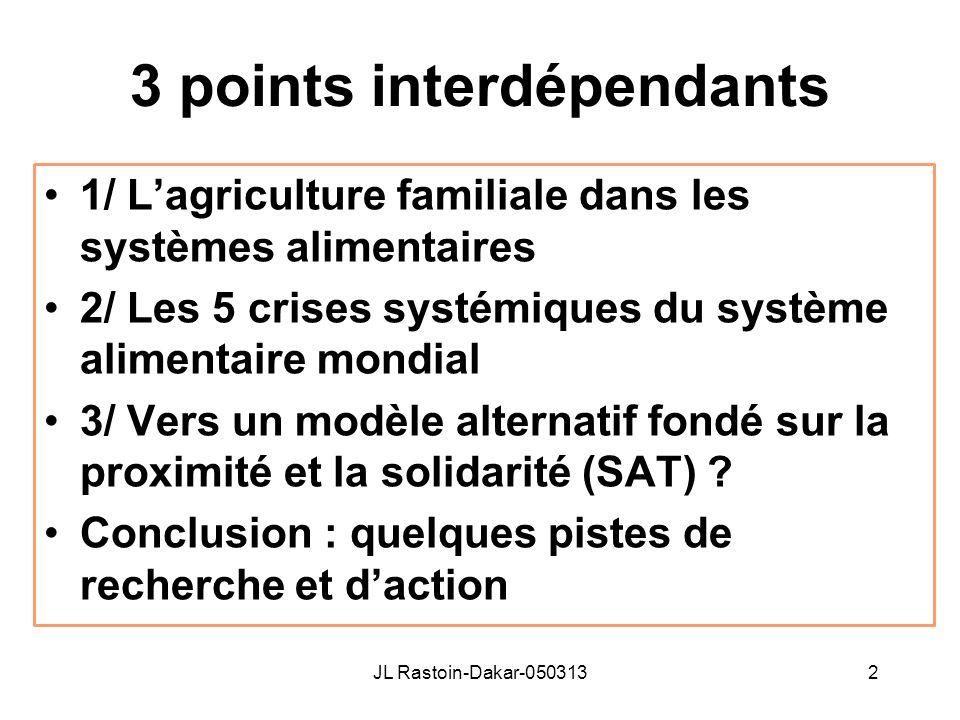 3 points interdépendants 1/ Lagriculture familiale dans les systèmes alimentaires 2/ Les 5 crises systémiques du système alimentaire mondial 3/ Vers u