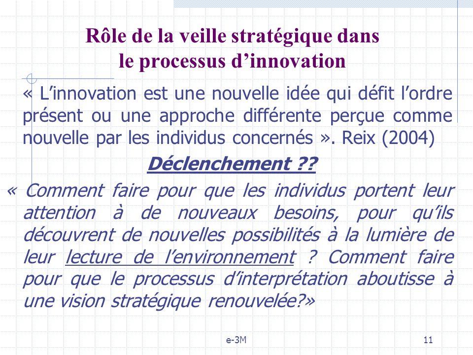 e-3M11 Rôle de la veille stratégique dans le processus dinnovation « Linnovation est une nouvelle idée qui défit lordre présent ou une approche différente perçue comme nouvelle par les individus concernés ».