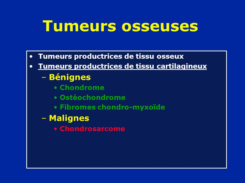 Tumeurs osseuses Tumeurs productrices de tissu osseux Tumeurs productrices de tissu cartilagineux Tumeurs à cellules géantes Tumeurs de la moelle osseuse –Sarcome dEwing et réticulosarcomes –Lymphosarcomes osseux –Myélomes