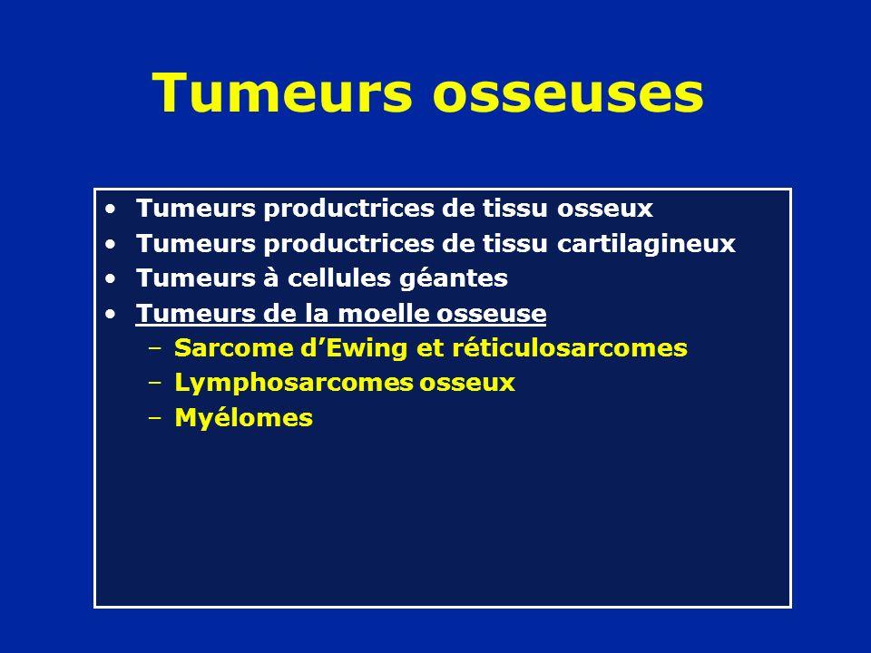 Tumeurs osseuses Tumeurs productrices de tissu osseux Tumeurs productrices de tissu cartilagineux Tumeurs à cellules géantes Tumeurs de la moelle osseuse Tumeurs du tissu conjonctif –Fibrome desmoïde –Lipome osseux –Fibrosarcome