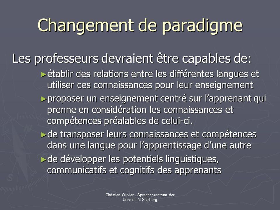 Christian Ollivier - Sprachenzentrum der Universität Salzburg Changement de paradigme Les professeurs devraient être capables de: établir des relation