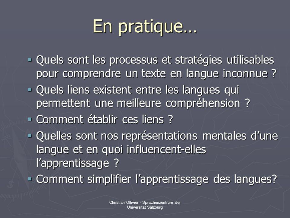 Christian Ollivier - Sprachenzentrum der Universität Salzburg En pratique… Quels sont les processus et stratégies utilisables pour comprendre un texte en langue inconnue .
