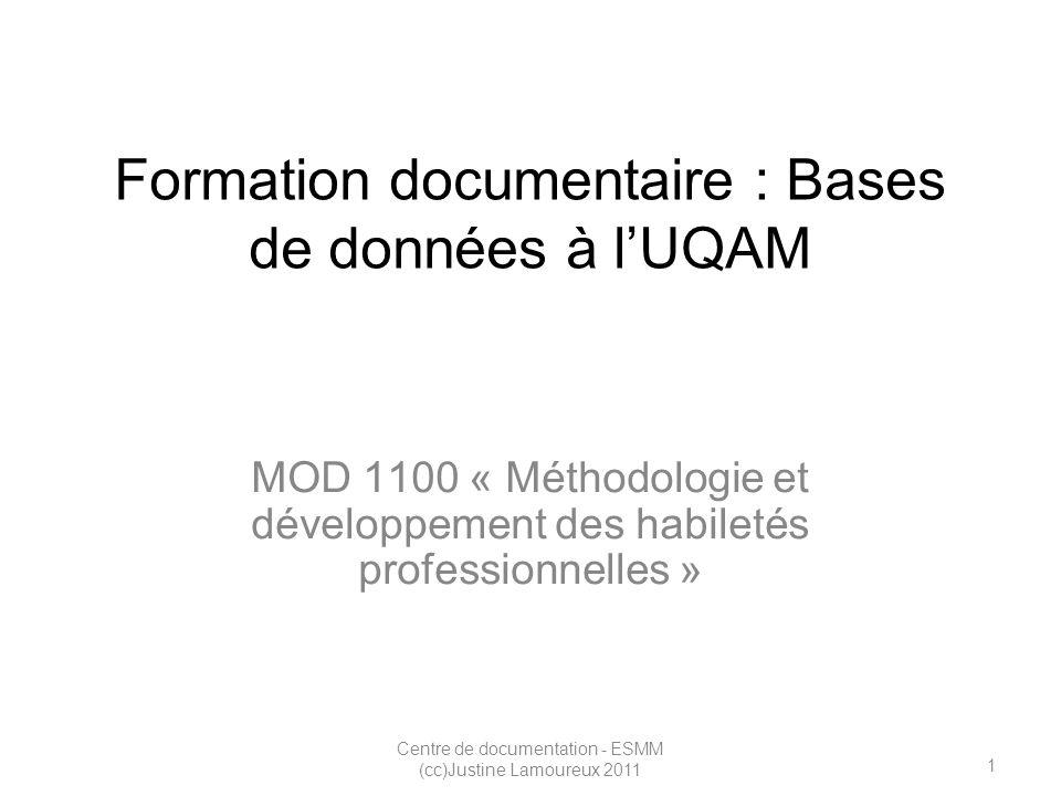 2 Centre de documentation - ESMM (cc)Justine Lamoureux 2011 Objectifs Authentification : Wi-Fi et Proxy Révision : onglet « Article & bases de données » de loutil de recherche VIRTUOSE Comprendre le fonctionnement de lassistant SFX Faire découvrir les fonctionnalités de la métarecherche (MetaLib) dans Bases de données A – Z ( + mention de Périodiques électroniques A-Z) Présentation de bases de données spécifiques : WGSN – Emerald- Eureka – JSTOR - etc.