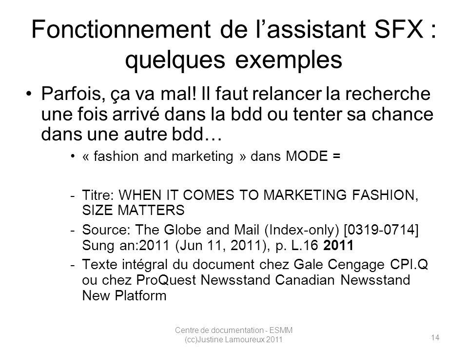 14 Centre de documentation - ESMM (cc)Justine Lamoureux 2011 Fonctionnement de lassistant SFX : quelques exemples Parfois, ça va mal.