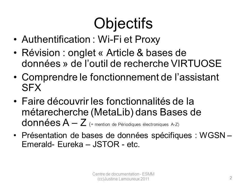 3 Centre de documentation - ESMM (cc)Justine Lamoureux 2011 Authentification Wi-FiProxy