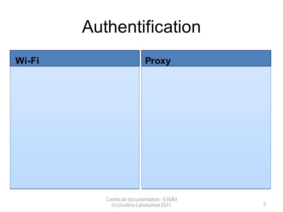 4 Centre de documentation - ESMM (cc)Justine Lamoureux 2011 Authentification Wi-Fi Code MS (même code que Moodle) Informations sup.