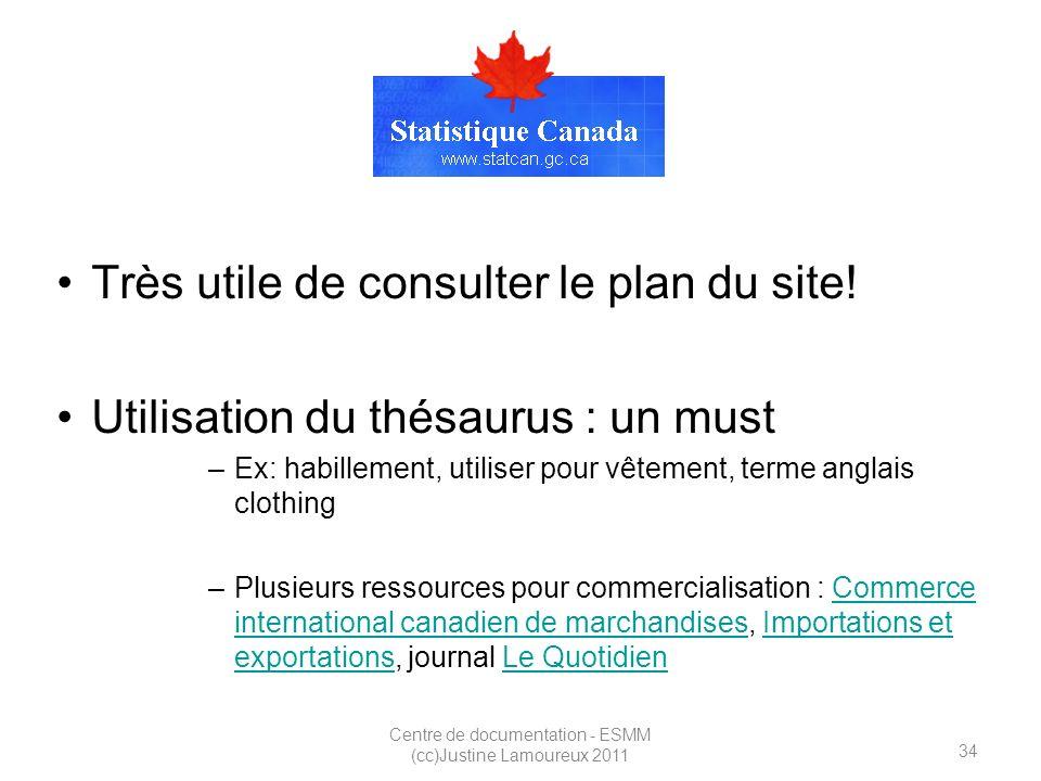 34 Centre de documentation - ESMM (cc)Justine Lamoureux 2011 StatCan Très utile de consulter le plan du site.