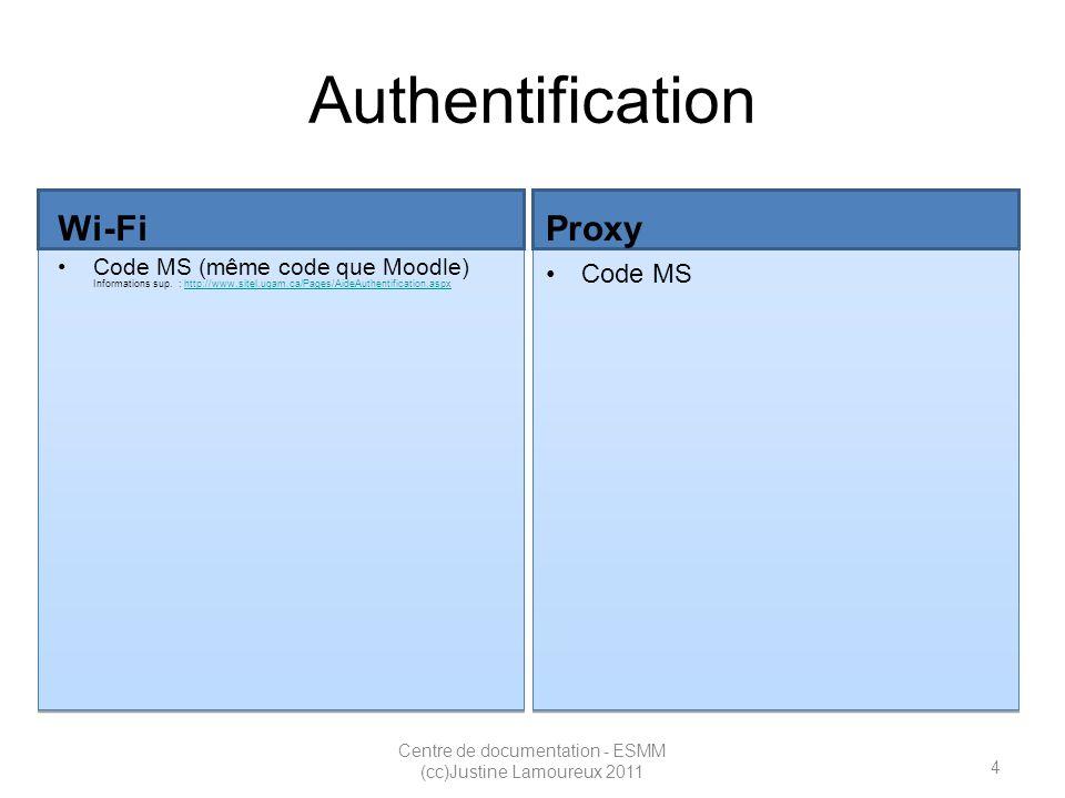 5 Centre de documentation - ESMM (cc)Justine Lamoureux 2011 Authentification Wi-Fi Code MS (même code que Moodle) Informations sup.