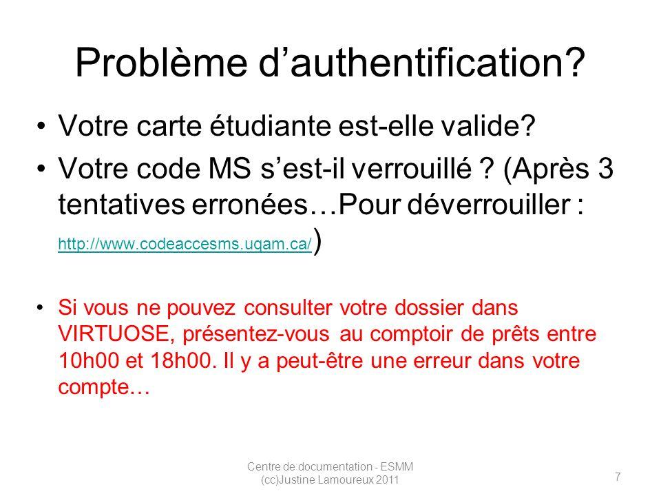 7 Centre de documentation - ESMM (cc)Justine Lamoureux 2011 Problème dauthentification.
