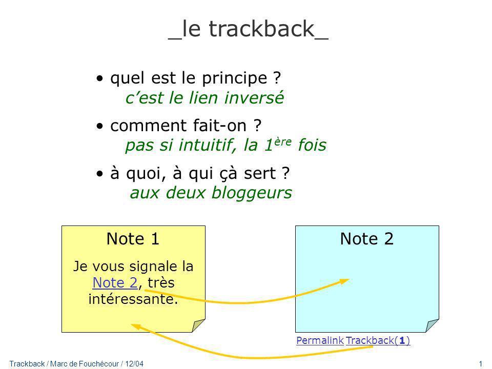 1 Trackback / Marc de Fouchécour / 12/04 _le trackback_ quel est le principe .