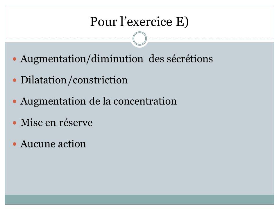 Pour lexercice E) Augmentation/diminution des sécrétions Dilatation/constriction Augmentation de la concentration Mise en réserve Aucune action