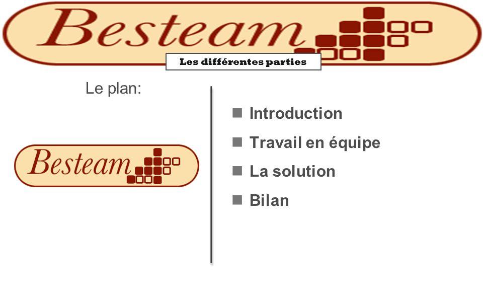 Les différentes parties Le plan: Introduction Travail en équipe La solution Bilan