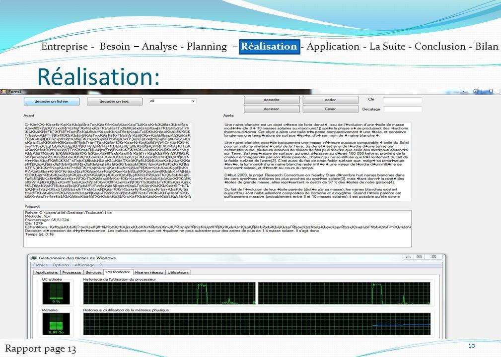 10 Réalisation: Rapport page 13 Entreprise - Besoin – Analyse - Planning – Réalisation - Application - La Suite - Conclusion - Bilan