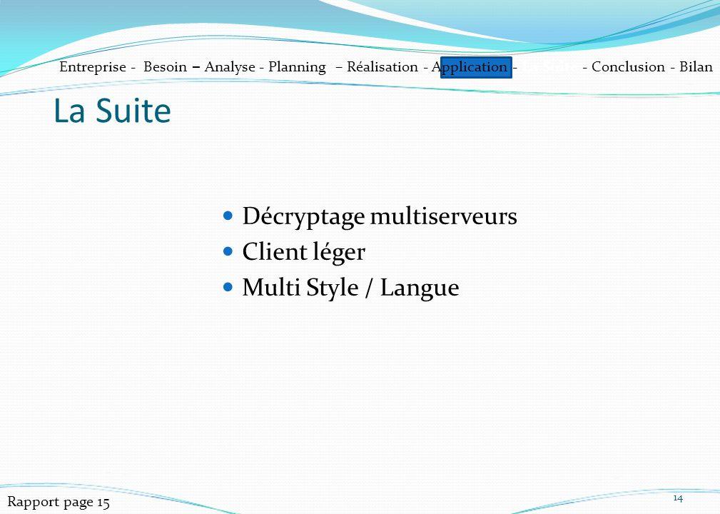 Décryptage multiserveurs Client léger Multi Style / Langue 14 La Suite Entreprise - Besoin – Analyse - Planning – Réalisation - Application - La Suite - Conclusion - Bilan Rapport page 15