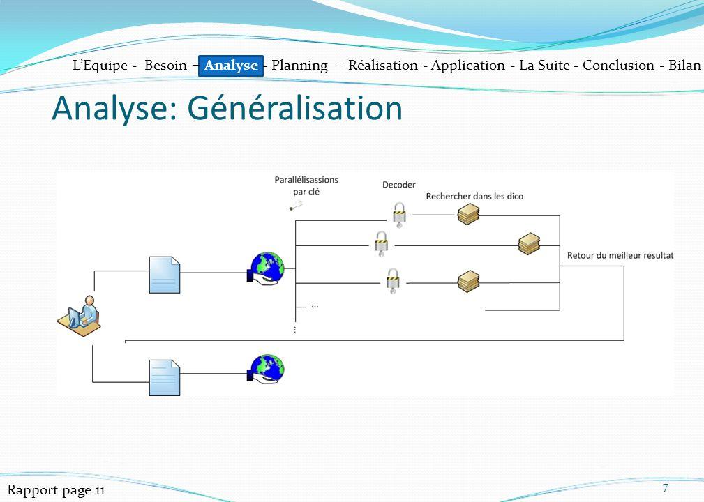 LEquipe - Besoin – Analyse - Planning – Réalisation - Application - La Suite - Conclusion - Bilan 7 Analyse: Généralisation Rapport page 11