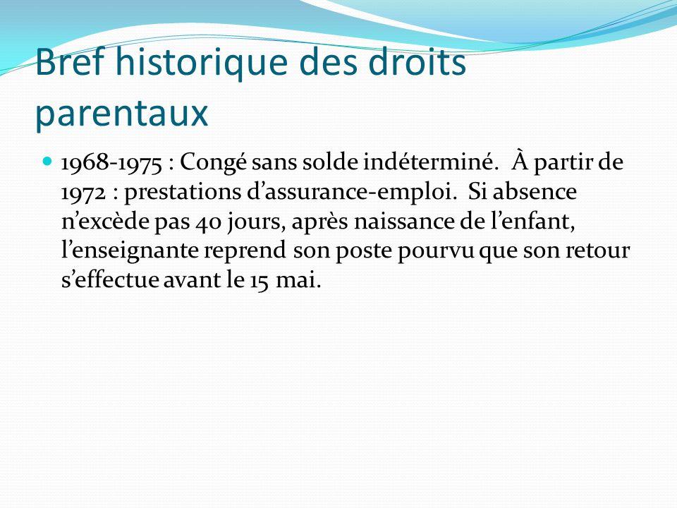 Bref historique des droits parentaux 1968-1975 : Congé sans solde indéterminé. À partir de 1972 : prestations dassurance-emploi. Si absence nexcède pa
