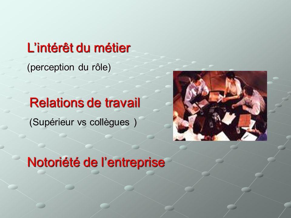 Lintérêt du métier (perception du rôle) Relations de travail (Supérieur vs collègues ) Notoriété de lentreprise